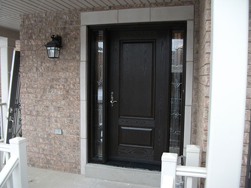 Woodgrain Single Front Entry Door With 2 Stained Glass