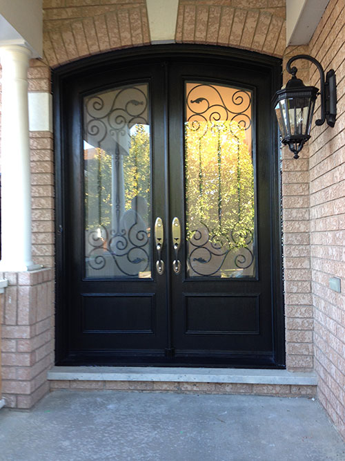 Arched fiberglass doors front entry doors arch design fiberglass doors installation with iron Exterior doors installation calgary