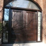 Executive Doors, Front Woodgrain Doors with IronArt and 2 side lights and Matching Arch Ransom Installed in Scarborough by Windows and Doors Toronto