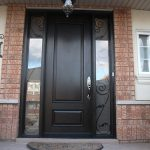 Exterior Double Doors, Wood Grain Doors - After Installation outside view, Fiberglass Smooth Single Door with 2 Iron Art Side Lites Installed by Windows and Doors Toronto
