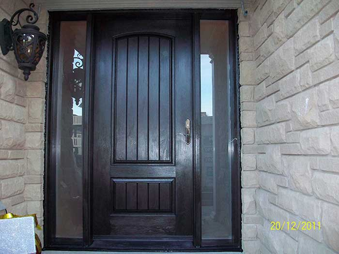Front entry door fiberglass rustic solid door woodgrain for Entry door with side windows