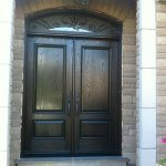 Fiberglass Wood Grain Doors with Iron Art Design Transom Installed in Etobicoke by Windows and Doors Toronto