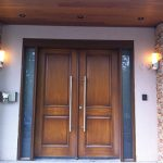 Modern Wood Grain Double Doors with Side Lites Installed by Windows and Doors Toronto