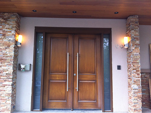 Front entry doors modern doors woodgrain double doors with for Office front door design