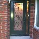 Serafina Design Fiberglass Wrought Iron Single Frosted Glass Door with 2 Iron Arts Side Lites Installed by Windows and Doors Toronto