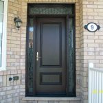 Wood Grain Door- Solid Door & 2 Slim Iron Art Side Lites & Transom installed by Windows and Doors Toronto