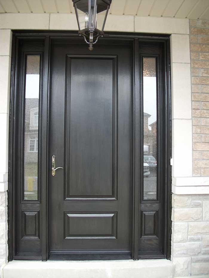 Front entry doors fiberglass doors modern doors woodgrain for Entry door with side windows
