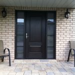Wood Grain Door with Frosted Glass Side Lites Installed by Windows and Doors Toronto
