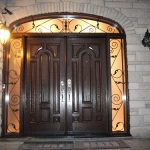 Wood Grain Doors Parliament Design with 2 Iron Arts Side Lites and Transom Installed by Windows and Doors Toronto