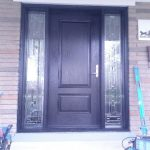 Wood Grain Doors with 2 Stained Glass Side lites installed in Toronto by Windows and Doors Toronto