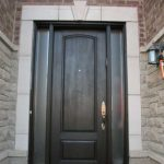 Wood grain Door, Solid Door with 2 Frosted Side Lites Installed by Windows and Doors Toronto in North York