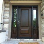 Wood grain Door Solid Door with 2 Side Lites Installed by Windows and Doors Toronto in Oshawa