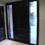 Wood grain Door, Solid Front Door with 2 Frosted Side Lites Installed by Windows and Doors Toronto in Maple Ontario Inside View