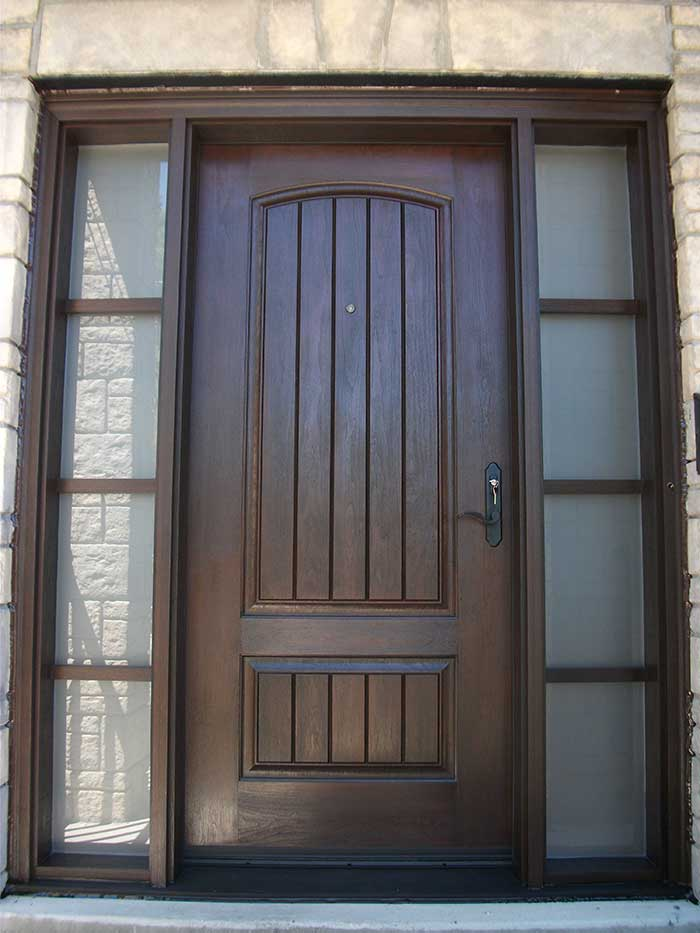 Modern doors front entry doors fiberglass doors woodgrain for Entry door with side windows