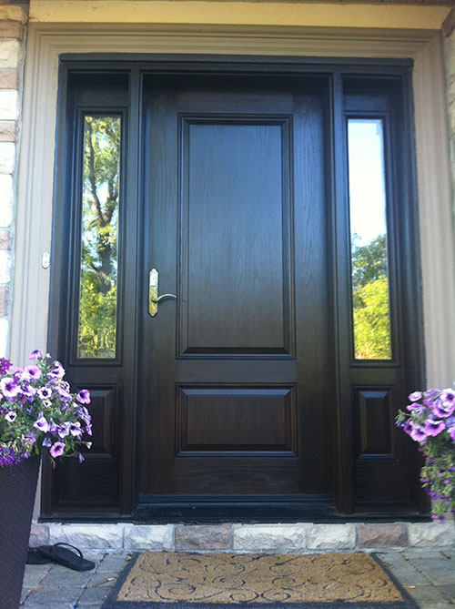 Peachy Front Entry Doors Fiberglass Doors Wood Grain Door With 2 Door Handles Collection Olytizonderlifede