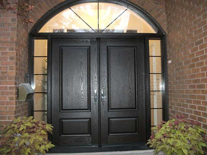 Fiberglass doors front entry doors modern doors woodgrain for Double door with side windows