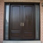 Wood grain Doors, Solid Fiberglass Front Door with Rustic and 2 Iron Art Side Lights Installed by windows and doors toronto in Thornhill Ontario