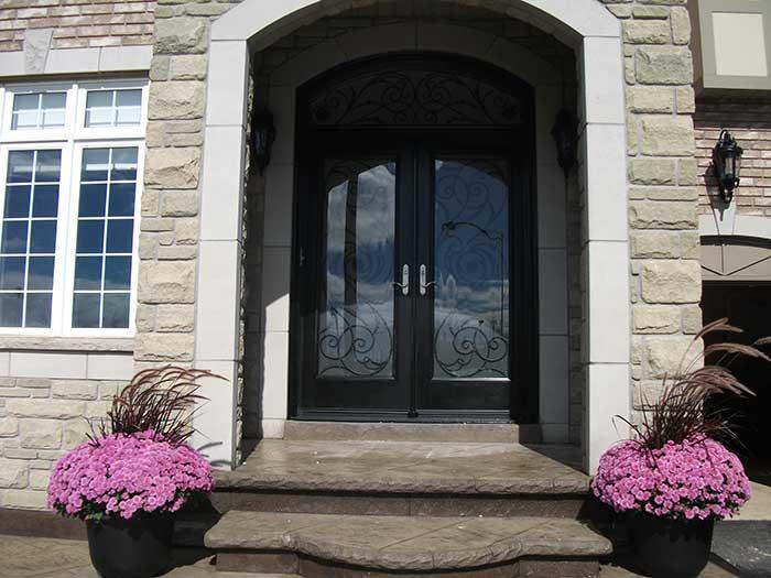 Front entry doors fiberglass doors modern doors woodgrain for Art glass windows and doors