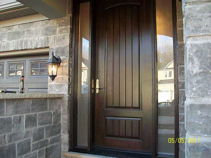 Fiberglass doors front entry doors modern doors woodgrain for Modern front door lights
