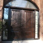 Wood grain Doors with IronArt and 2 side lites and Matching Arch Ransom Installed by Windows and Doors Toronto in Scarborough