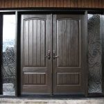 Wood grain Doors with Rustic and 2 Iron Art Side Lights Installed by Windows and Doors Toronto in Thornhill Ontario