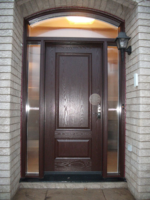 Fiberglass doors front entry doors wood grain fiberglass for Single front entry doors
