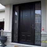 wood grain Door with 2 Iron Art Side Lites installed in Mississuaga installed by Windows and Doors Toronto