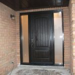 6- After Istallation, Single Fiberglass Rustic Door with 2 frosted side lites Installed by Windows and Doors Toronto
