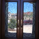 8 Foot Doors, Wrought Iron Woodgrain Milan Design Double Doors Installed By Windows and Doors Toronto
