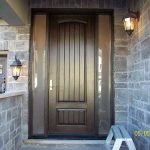 8-Foot-Fiberglass Sigle--Solid-Rustic-Door-with-2-frosted-Side-Lites-Installed- by Windows and Doors Toronto