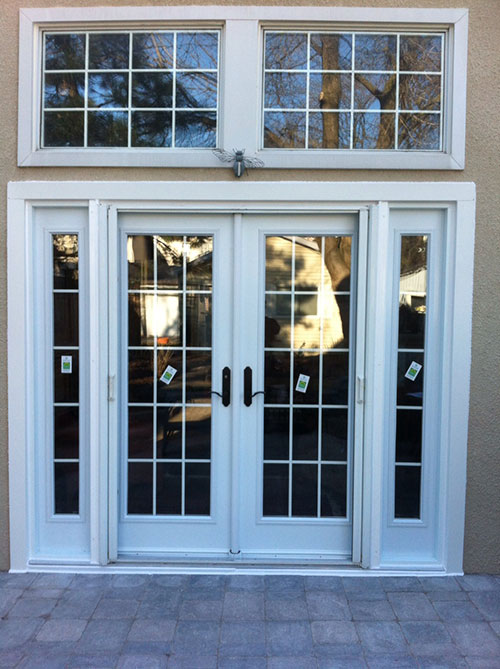 8 foot fiberglass doors for Entry door with side windows
