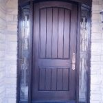Arched Fiberglass Door-Rustic Fiberglass Door with 2 Side Lites installed by windowsanddoors.ca in Vaughan