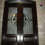 Custom Doors, 8-Foot-Milan-design-Fiberglass-Double-Doors-With-Matching-Art-Transom-Installed by Windows and Doors Toronto in-Thornhill