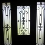 Custom Doors-Fiberglass Single Front Door - Iron Art Glass Design with 2 Iron Art SIde Lights installed by Windows and Doors Toronto in Thornhill Ontario Inside View