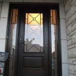 Custom Doors-Fiberglass Single Front Door with 2 Iron Art Side lights Installed by Windows and Doors Toronto in Woodbridge