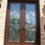 Custom Doors- fiberglass woodgrain 8 foot with 22 by 80 Custom Glass installed by Windows and Doors Toronto in Thornhill