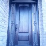 Front Entry Custom Fiberglass Door with Custom Wrought Iron Side Lites & Transom installed in Toronto by windowsanddoorstoronto.ca