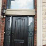 Rustic Door, Single Solid Fiberglass Front Door with 2 Iron Art Side Lites and Transom Installed by Windows and Doors Toronto in Markham Ontario