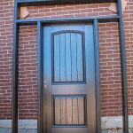 Rustic Door, Single Solid Fiberglass Front Door with 2 Side Lites and Transom installed by Windows and Doors Toronto