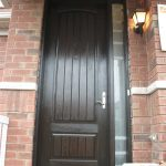 Rustic Doors, Woodgrian Solid Single Front Door with Frosted side Lite Instlled by Windows and Doors Toronto in Hamikton Ontario