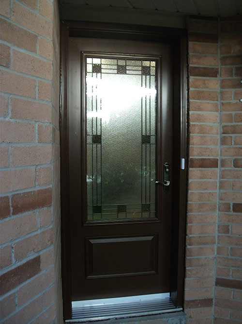 Stained glass fiberglass doors for Single glass exterior door