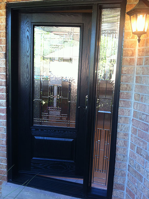 Windows and doors toronto fiberglass doors stained glass for Single front doors with glass