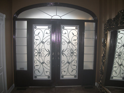 Front Entry Doors Wrought Iron Double Doors Fiberglass