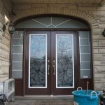 Wrought Iron Double Doors Julietta Design with 2 Side Lites and Transom, Outside View Installed by Windows and Doors Toronto