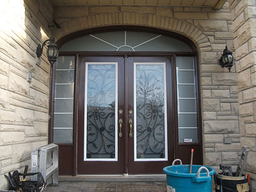 Wrought iron fiberglass doors for Double door with side windows