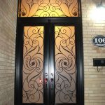 Wrought Iron Fiberglass Double Doors with Transom & multi Point Locks installed by Windows and Doors Toronto in Hamilton