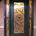 Wrought Iron single Exterior Door Milan Design with 2 side Lites, Outside View Installed by Windows and Doors Toronto