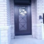 Fiberglass Front Door-Fiberglass Excaliber Design wth frosted glass installed in Thornhill by windowsanddoorstoronto.ca-Outside View