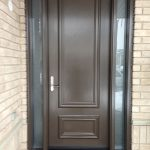 Smooth fiberglass door with 2 frosted side lite insalled in Aurora by windowsanddoorstoronto.ca