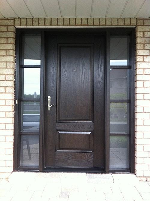 Woodgrain exterior doors woodgrain doors front entry doors for Solid glass exterior door